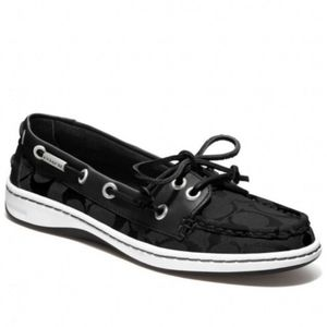 Coach Black Boat Shoe Loafers Jaquard Slip Ons 9